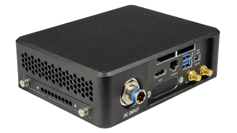 RE1401 NUC Rugged Embedded Computer by Crystal Group - Back Left View