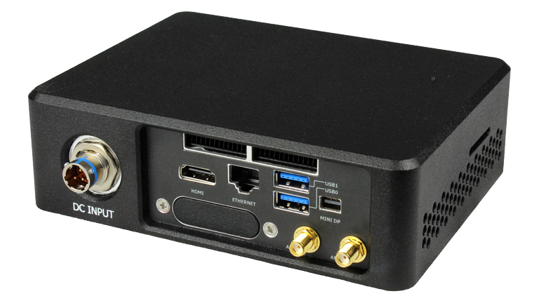 RE1401 NUC Rugged Embedded Computer by Crystal Group - Back Right View