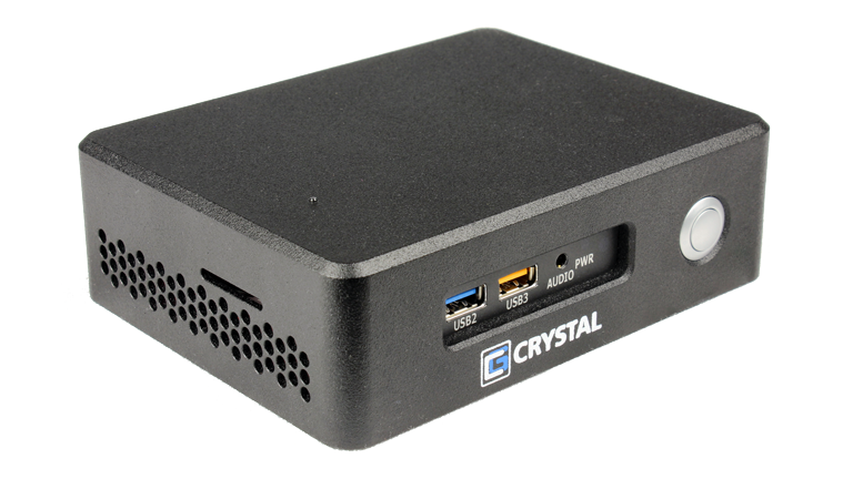 RE1401 NUC Rugged Embedded Computer by Crystal Group - Front Left View