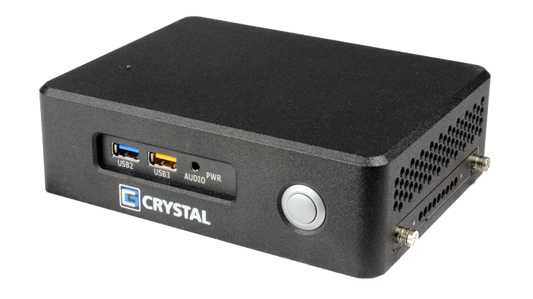 RE1401 NUC Rugged Embedded Computer by Crystal Group - Front Right View