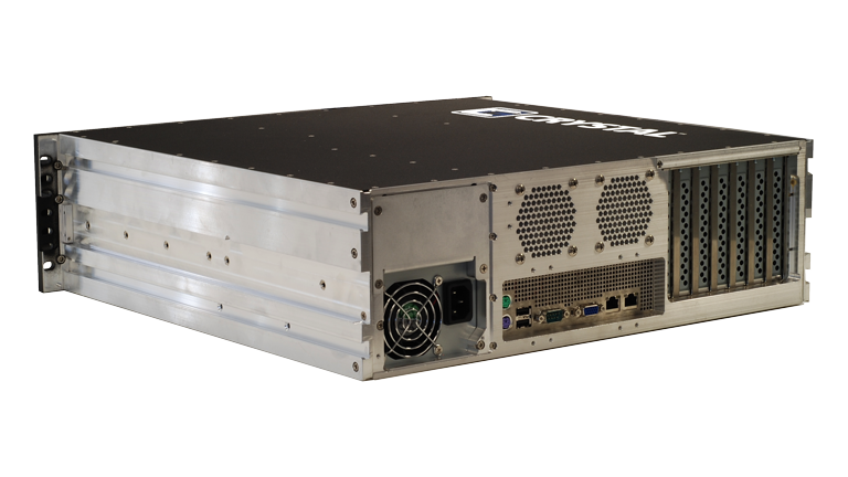 Back Left view of the RS373S17 Rugged 3U Server by Crystal Group
