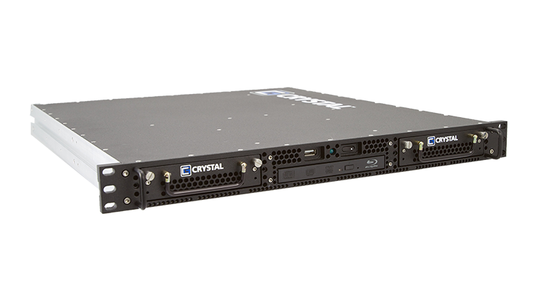 Front Left View of RS112 Rugged 1U Server by Crystal Group