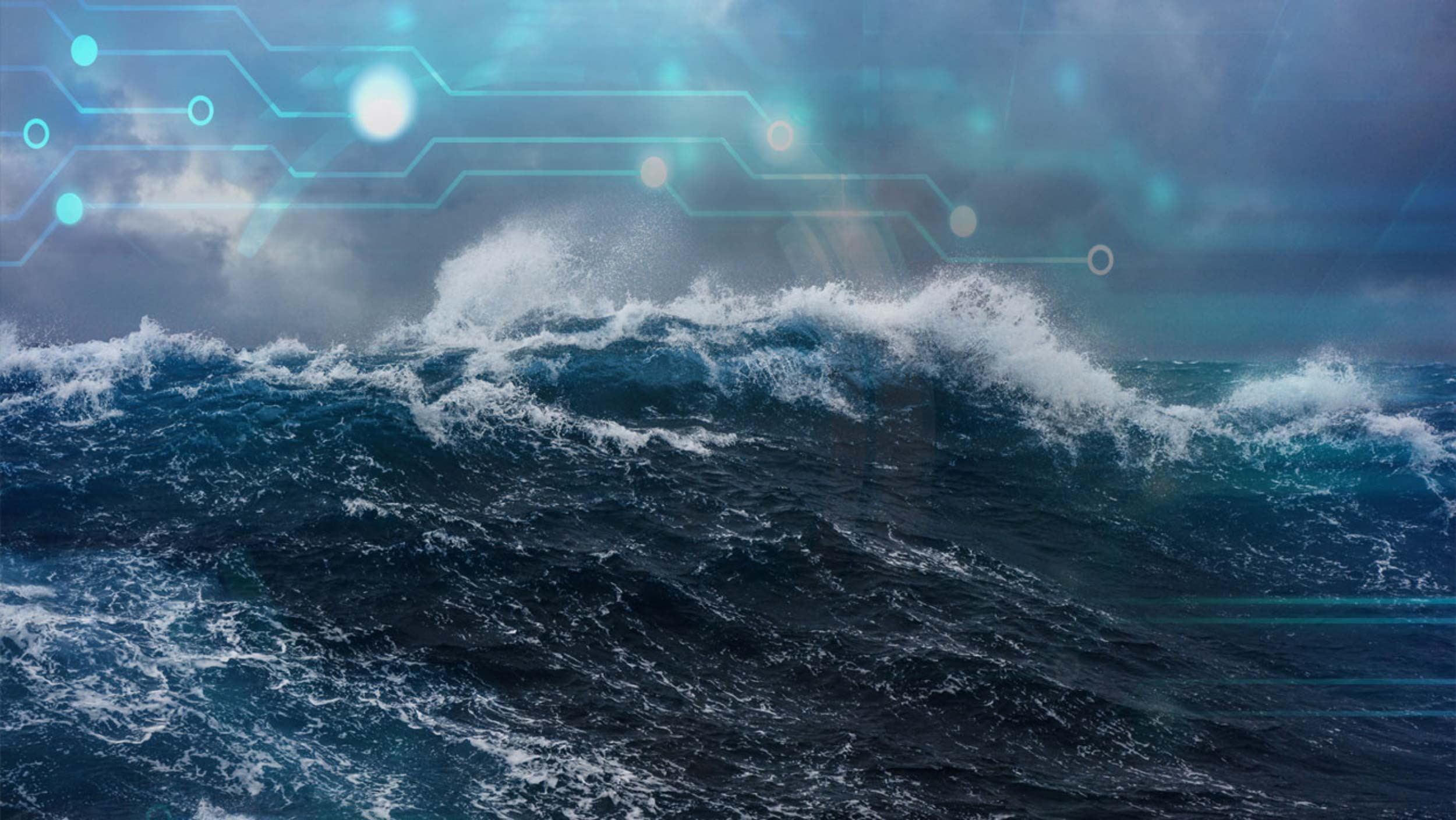 wave on stormy sea with extronic graphics overlay