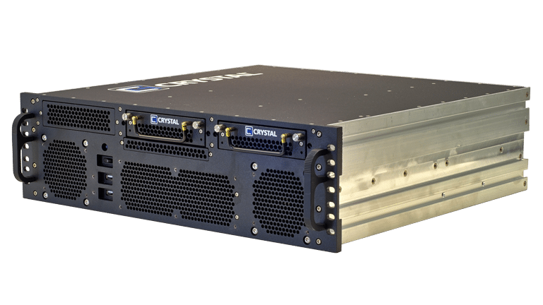 Front Left view of the RS373S17 Rugged 3U Server by Crystal Group